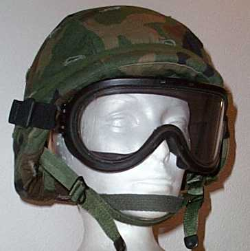 Fragmentation Goggles  mounted on Kevlar Helmet